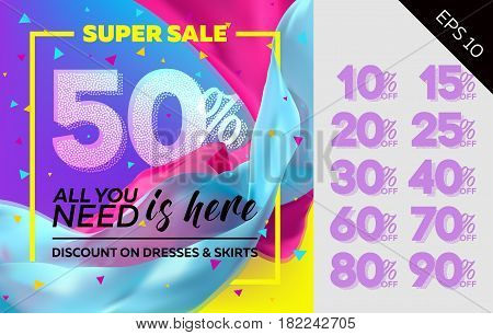 Spring Vector Sale Template with Flying Silk on Colorful Background. Bright Shopping Advertising. Design for Cloth Shop Fabric Store Web Banner Pop-Up Poster Flyer.
