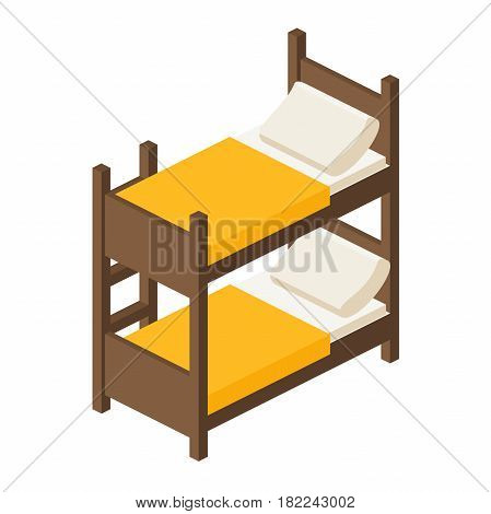 bunk bed with stairs,wooden bunk bed in isometric view, bed for children in two tiers in a flat style, vector illustration isolated on white background