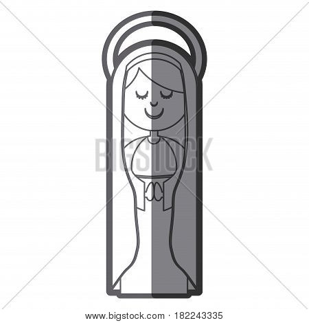 grayscale silhouette of virgin with mantle and aura vector illustration