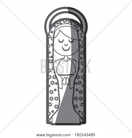grayscale silhouette of virgin of guadalupe with aura vector illustration