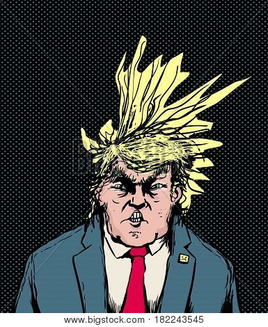 Donald Trump Hairdo Blowing Diagonally