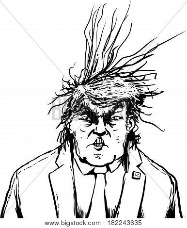 Outlined Donald Trump With Frazzled Hair