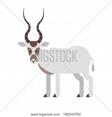 Vector flat style illustration of desert Addax antelope. Icon for web. Isolated on white background.