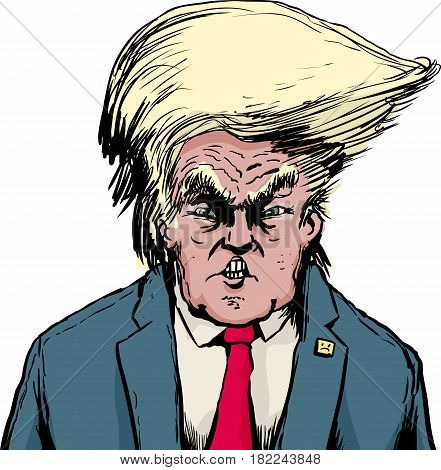Donald Trump In Bouffant Hairdo Over White