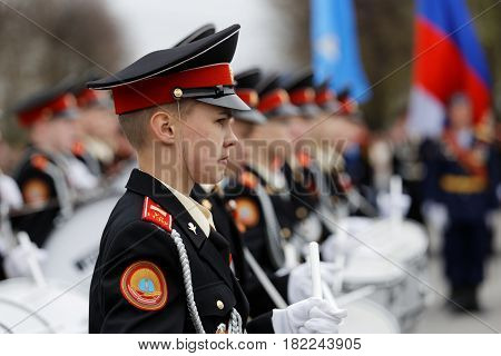 Young Cadet Drummer Standing In Line At The Victory Day Parade.