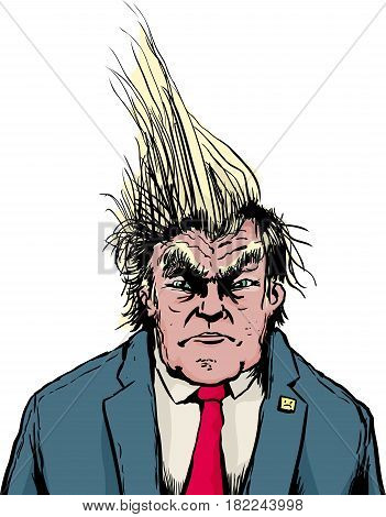 Frowning Trump With Spiked Hair