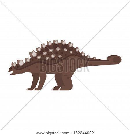 Vector flat style illustration of prehistoric animal - Ankylosaurus. Isolated on white background.