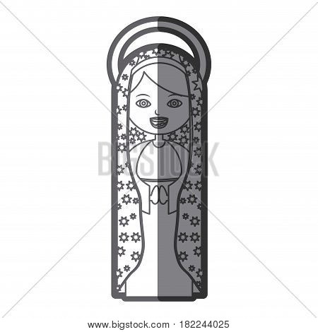 grayscale silhouette of beautiful virgin of guadalupe with aura vector illustration