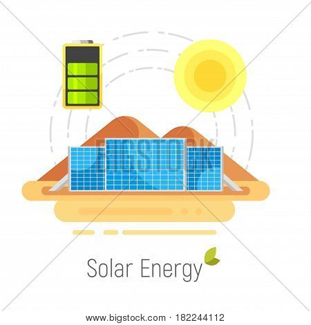 Vector flat style concept for ecology solar energy. Solar panels in desert. Alternative source of power. Isolated on white background.