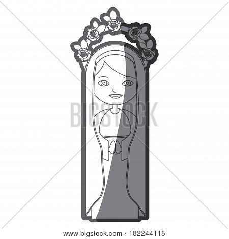grayscale silhouette of beautiful virgin with crown of roses and mantle vector illustration
