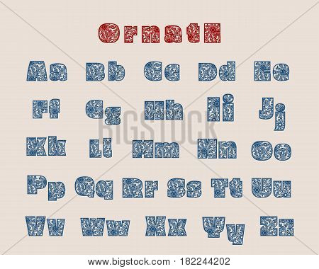 Decorative alphabet vector font. Typography for headlines, posters, logos etc. Uppercase and lowercase symbols
