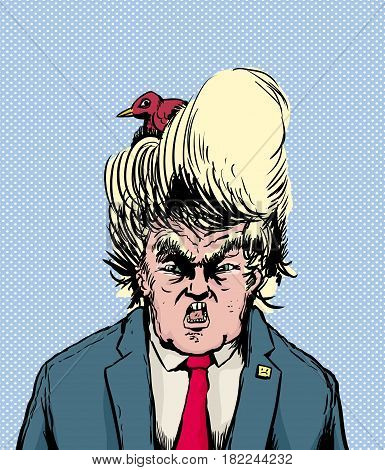 Bird Nesting In Donald Trump Hairdo