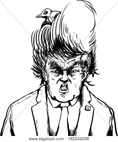 Outline Cartoon Of Bird In Hair Of Donald Trump