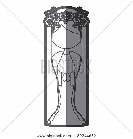 grayscale silhouette of faceless beautiful virgin with crown of roses vector illustration
