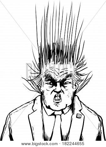Outlined Donald Trump With Hair Flying Upward