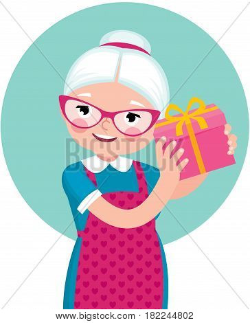 Elderly housewife woman shakes a box with a gift vector cartoon illustration