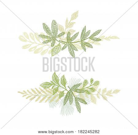 Green floral branch hand drawn composition. Vector greenery leaf arrangement isolated on white background. Love spring design for cards