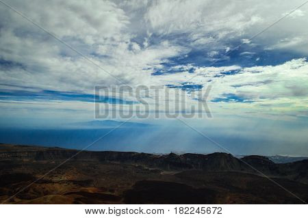 A wonderful view of the Atlantic Ocean  and La Gomera island from the Teide volcano. Canary Islands, Tenerife Island, Spain