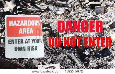 Hazardous Area: Danger do not enter sign