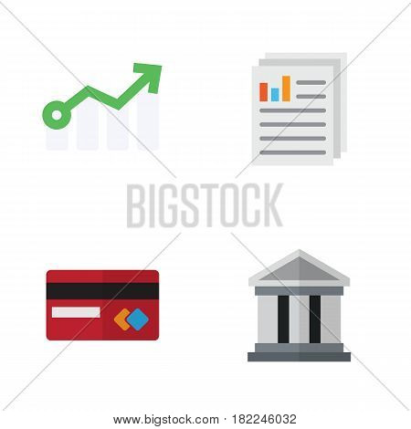 Flat Exchequer Set Of Document, Growth, Bank And Other Vector Objects. Also Includes Credit, File, Paper Elements.