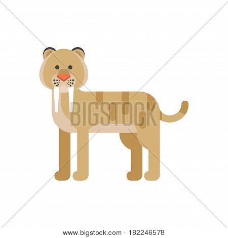 Vector flat style illustration of prehistoric animal - saber-toothed tiger. Isolated on white background.