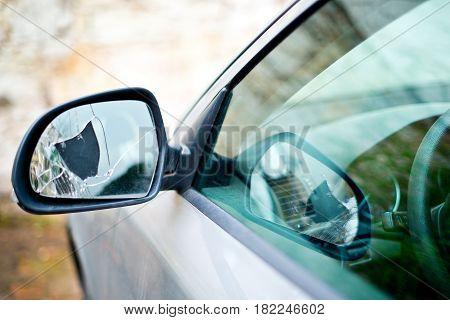 Detail Of Broken Back Mirror Of Car