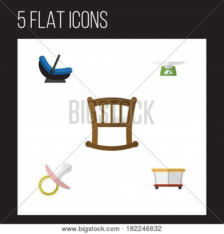 Flat Child Set Of Nipple, Playground, Children Scales And Other Vector Objects. Also Includes Weighing, Infant, Scales Elements.