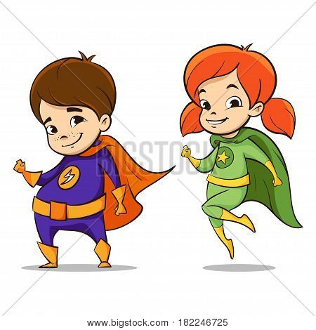 Vector hand drawn colorful illustration of two happy super hero kids characters.