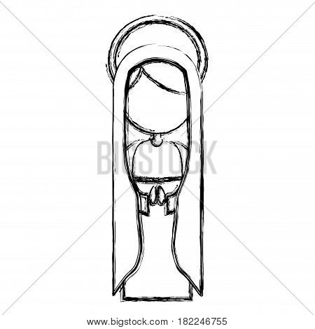 monochrome sketch contour of faceless beautiful virgin with mantle and aura vector illustration