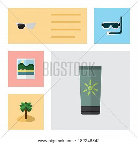Flat Beach Set Of Moisturizer, Reminders, Spectacles And Other Vector Objects. Also Includes Aqualung, Reminders, Pictures Elements.