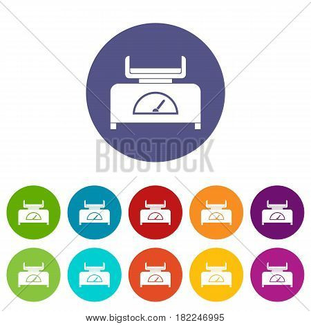 Weight scale icons set in circle isolated flat vector illustration