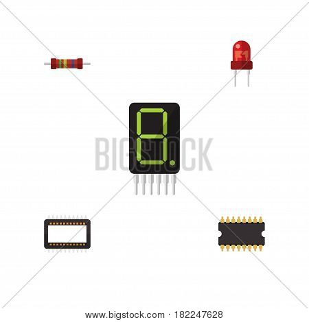Flat Electronics Set Of Display, Resistance, Mainframe And Other Vector Objects. Also Includes Resistor, Calculate, Mainframe Elements.