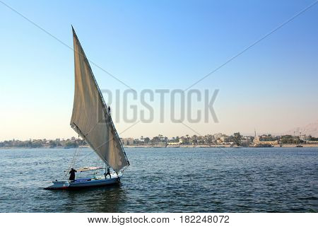 sailboat sailing on the Nile River in Egypt