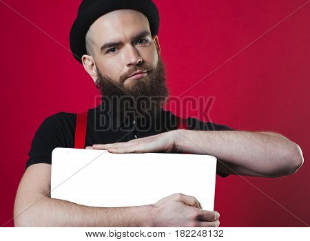 Bearded Guy Holding Empty Paper