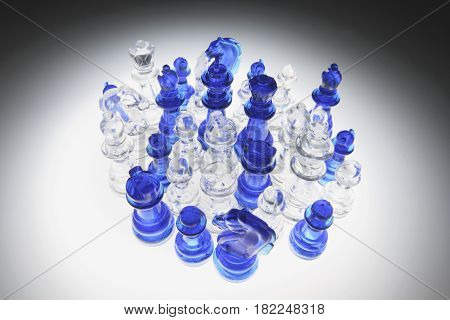 Clear Chess Pieces  on Lighted Black Background