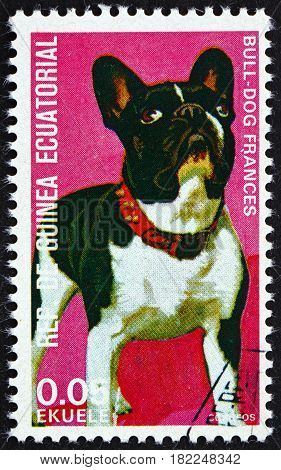 EQUATORIAL GUINEA - CIRCA 1977: a stamp printed in Equatorial Guinea shows Bulldog Canis Lupus Familiaris Pet circa 1977