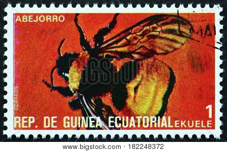 EQUATORIAL GUINEA - CIRCA 1978: a stamp printed in Equatorial Guinea shows Bumblebee Bombus Insect circa 1978