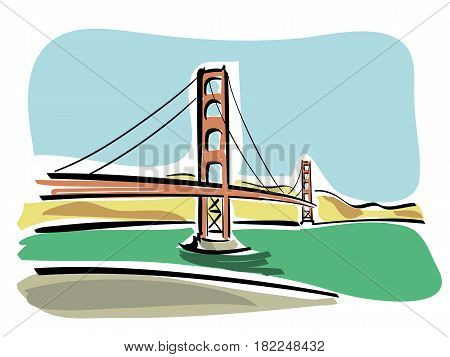 vector Illustration of the Golden Gate Bridge in San Francisco