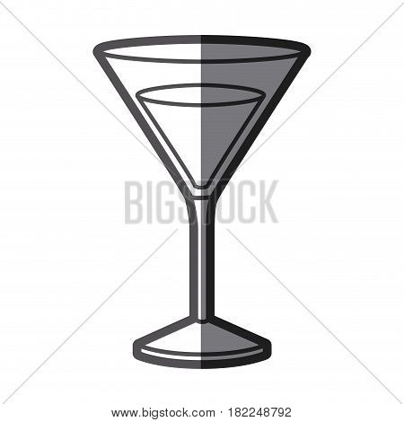 grayscale silhouette of drink cocktail glass vermouth with half shadow vector illustration