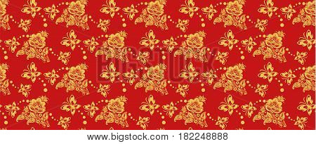 Traditional russian khokhloma style repeat pattern vector. Russian traditional seamless ornament in red and gold colors. Classic hohloma floral background