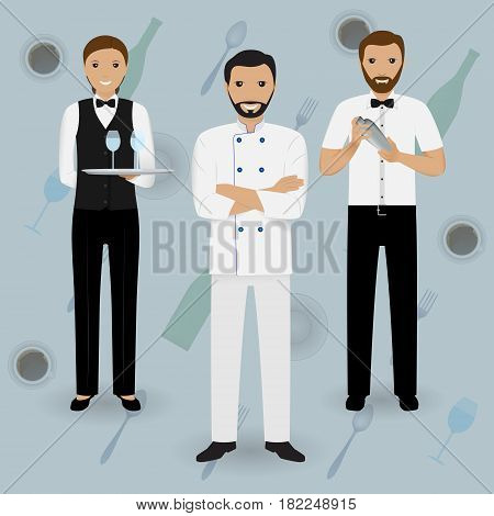 Chef cook waitress in uniform and barman standing together on a tableware background. Restaurant people characters. Vector illustration.