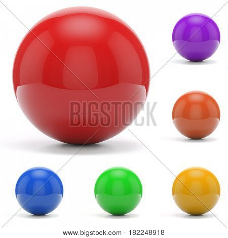3d colorful spheres on white background