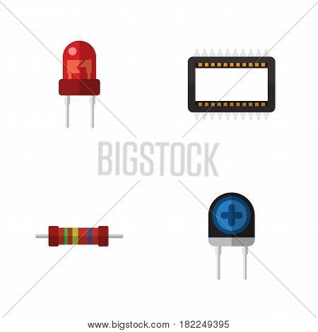 Flat Device Set Of Mainframe, Resistance, Recipient And Other Vector Objects. Also Includes Processor, Electronics, Transistor Elements.