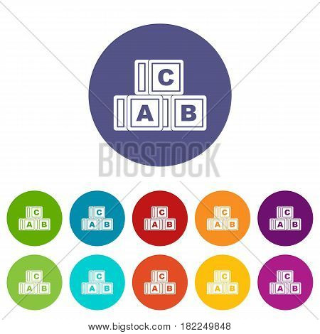 Carousel humming top icons set in circle isolated flat vector illustration