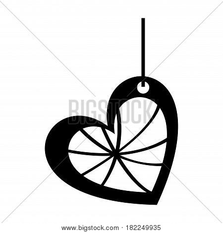 monochrome silhouette of heart surrounded by threads and pendant of thread vector illustration