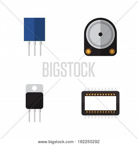 Flat Electronics Set Of Mainframe, Receiver, Hdd And Other Vector Objects. Also Includes Processor, Set, Mainframe Elements.