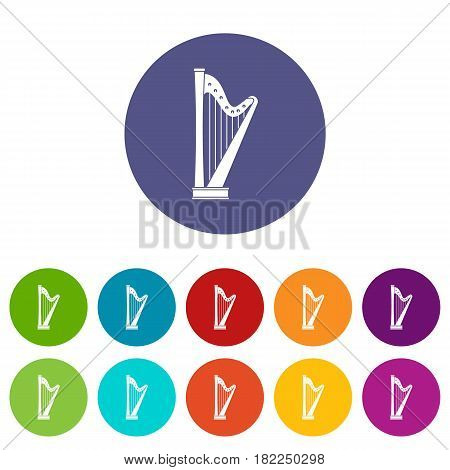 Harp icons set in circle isolated flat vector illustration