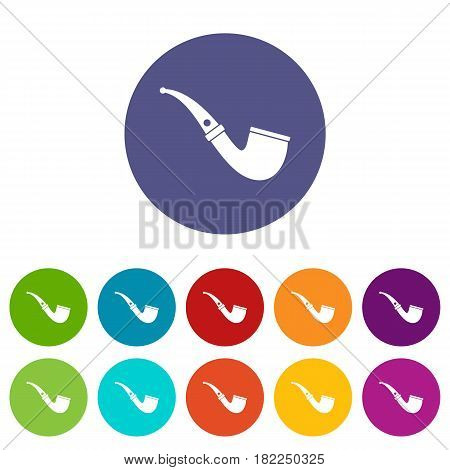 Smoking pipe icons set in circle isolated flat vector illustration