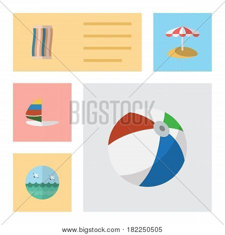 Flat Hot Set Of Wiper, Ocean, Surfing And Other Vector Objects. Also Includes Sailboard, Surfing, Beach Elements.