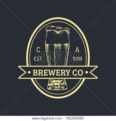 Kraft beer bottle logo. Lager retro sign. Hand sketched ale illustration. Vector vintage homebrewing label or badge